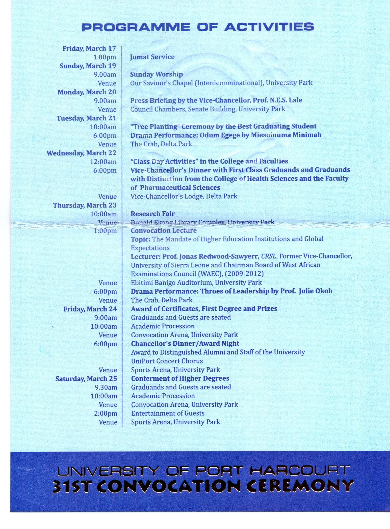 UNIPORT 31st Convocation Ceremony Programme of Events – 2017