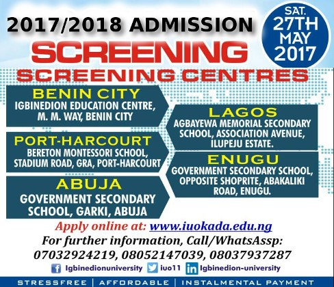 Igbinedion University Admission Screening