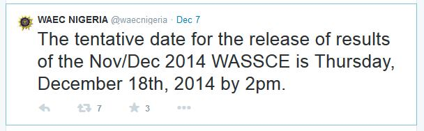 have been asking us this question of when WAEC will release the result