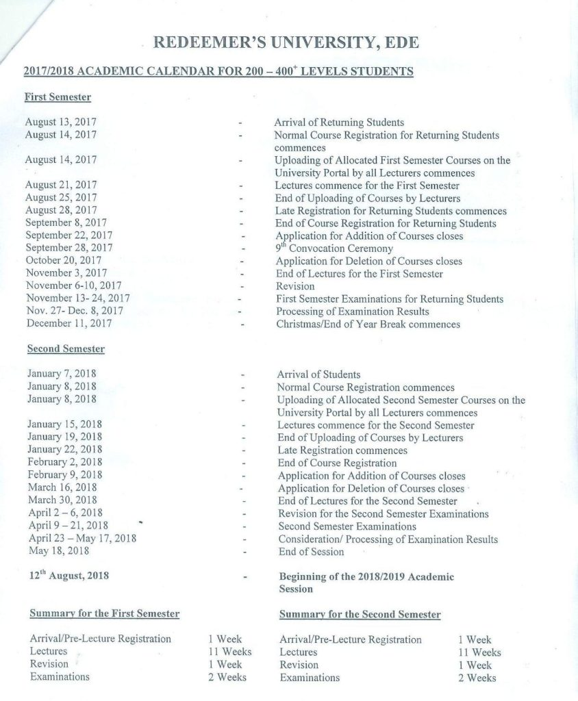Redeemer's University Academic Calendar Breakdown