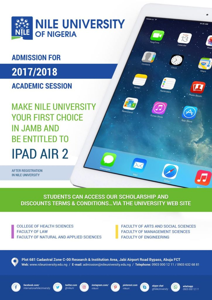 Make Nile University 1st Choice, Be Entitled to iPad Air 2