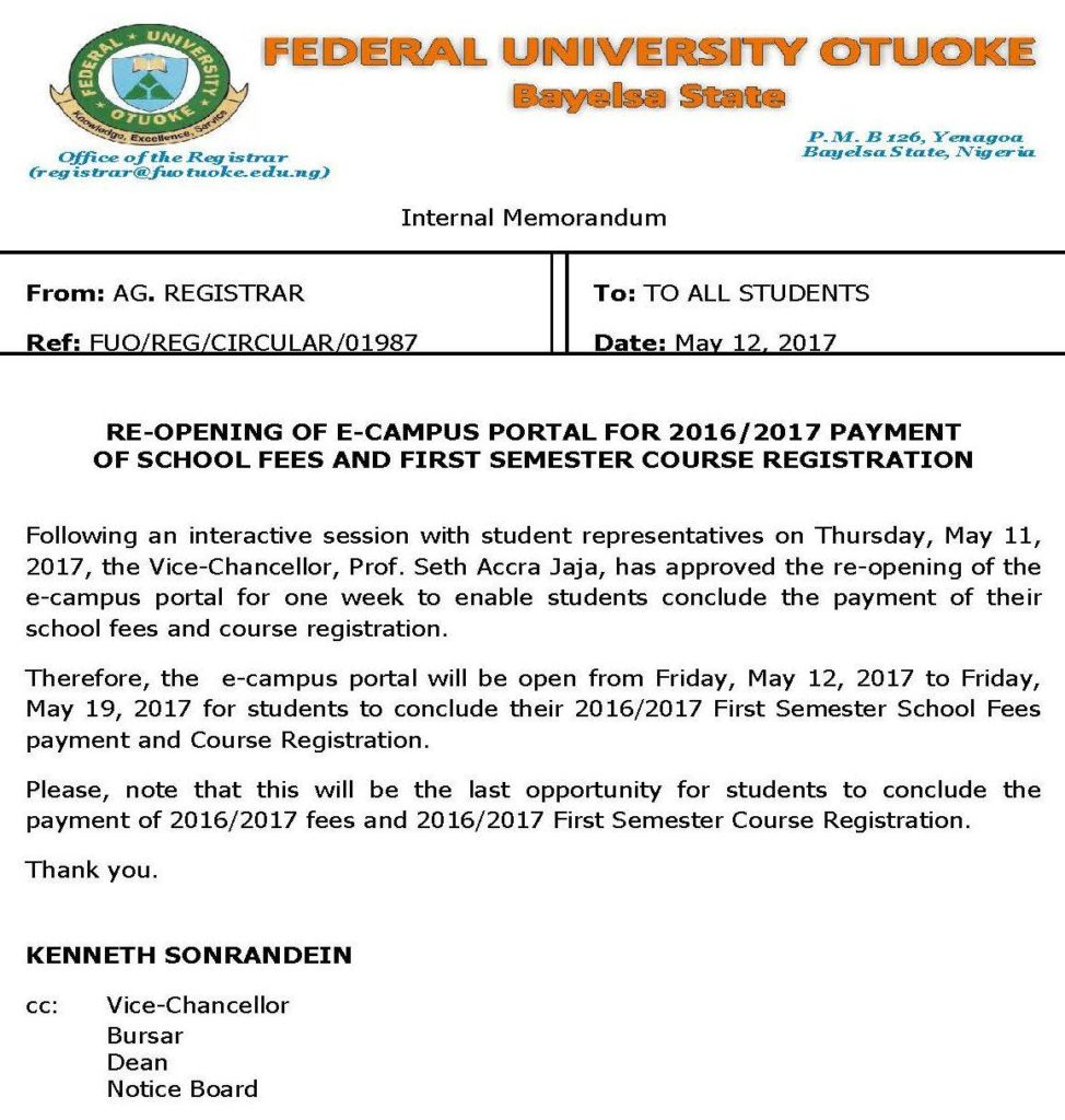 FUOTUOKE e-portal Reopened for School Fees Payment