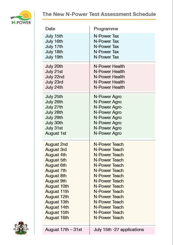 N-Power Recruitment Assessment Test Dates