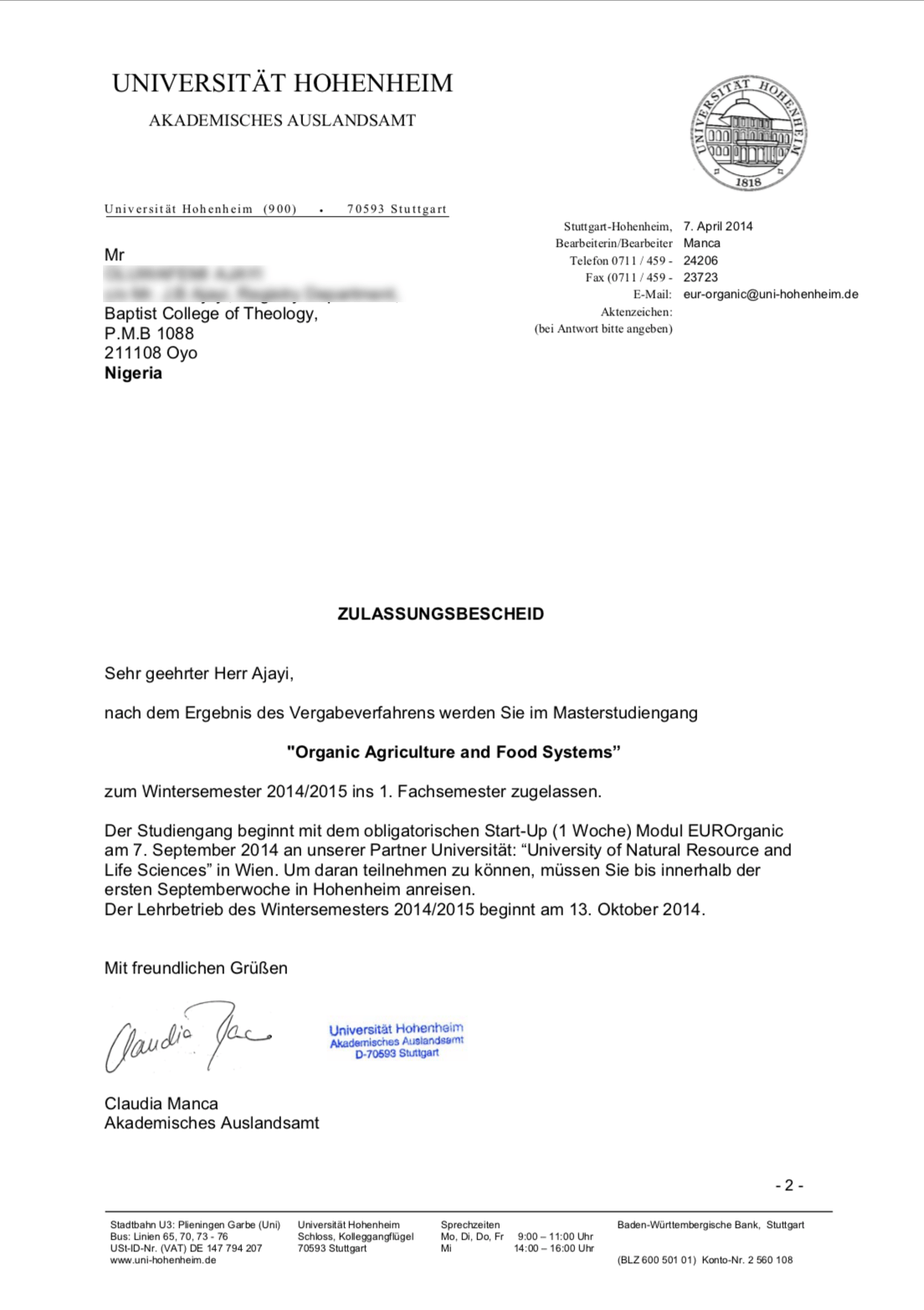 Germany University Admission Letter